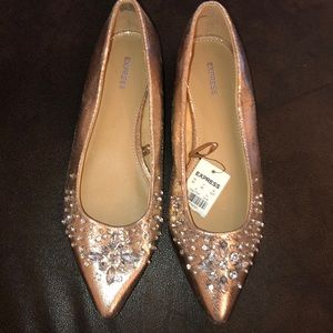Express Rose Gold Metallic Beaded Flats Size 7